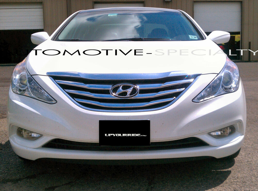 2pc Chrome Abs Grille Grill Overlay Fits 2011 2012 2013 Hyundai Sonata Ebay
