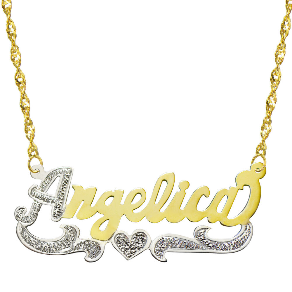 14k two tone gold personalized name plate necklace style