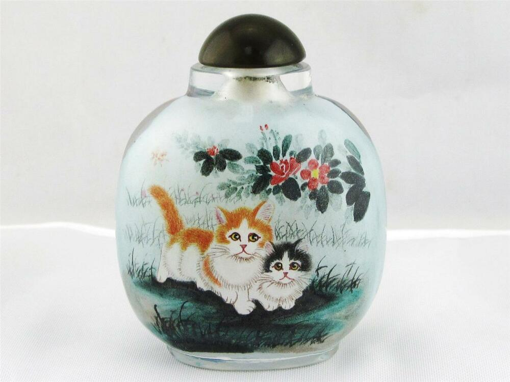 Beautiful chinese glass overlay snuff bottle hand painted for Hand painted glass bottles
