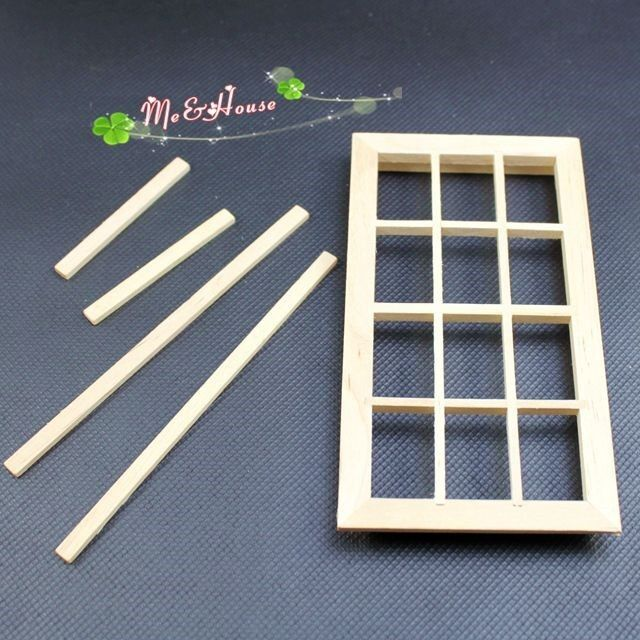 1 12 dollhouse miniature diy material wooden lattice for Window material