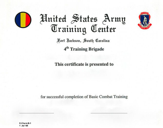US Army Basic Combat Training Certificate 4th TR BGD Ft jackson – Army Certificate of Training Template