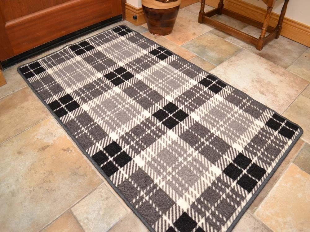 Small large grey tartan long hall runner kitchen floor for Small rugs for kitchen