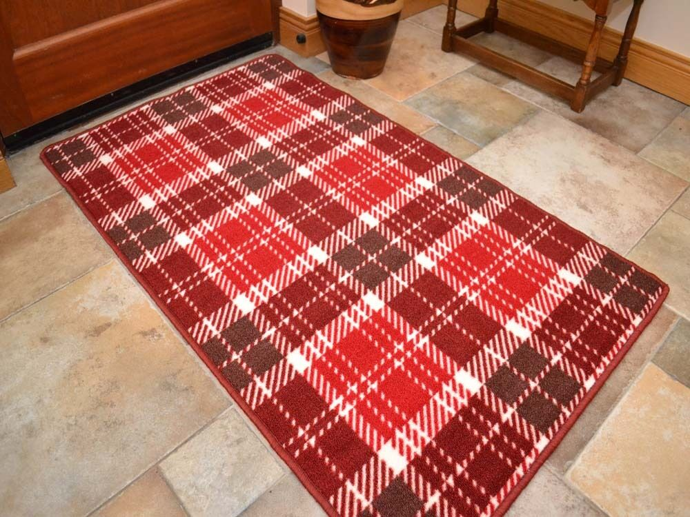 Small large red tartan long hall runners kitchen floor for Small rugs for kitchen