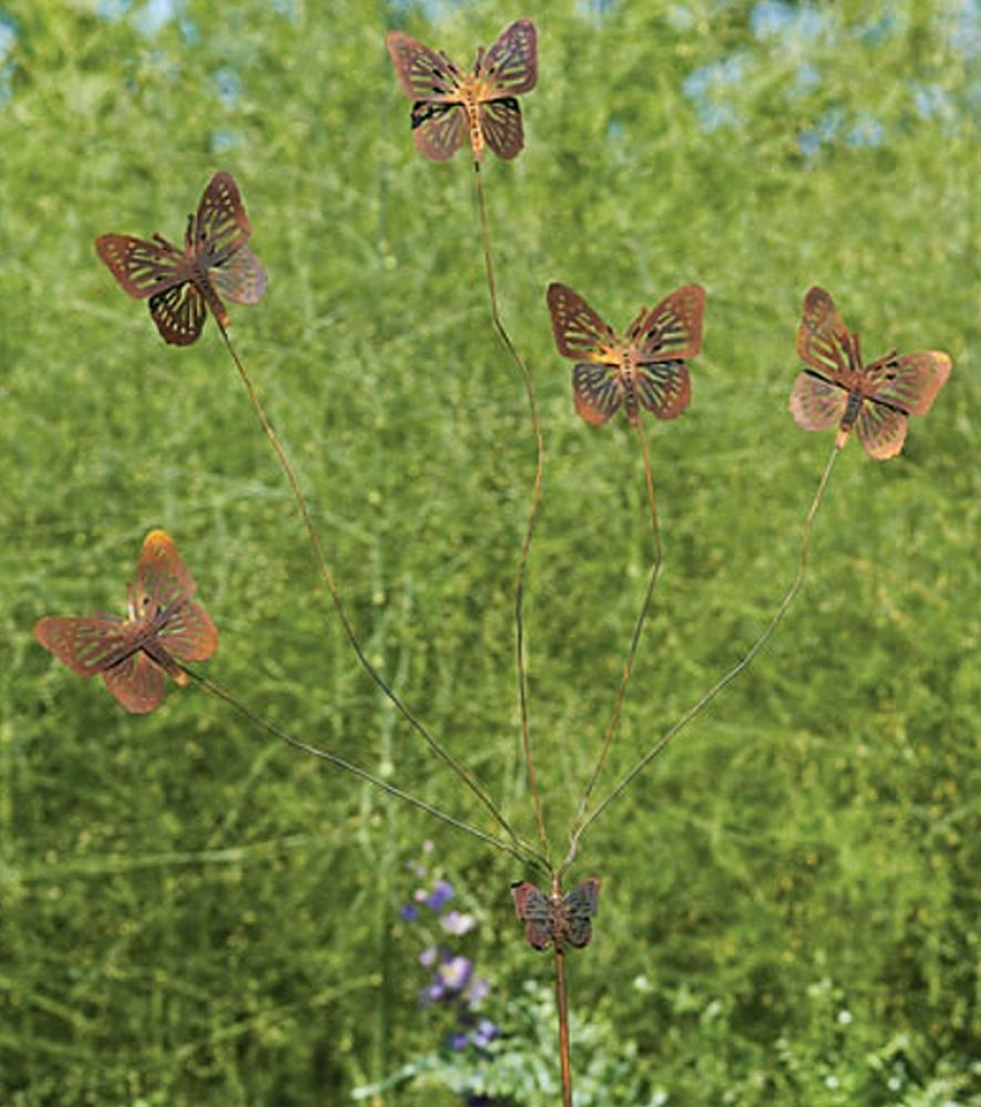 Butterfly flutterer metal garden stake copper finish for Outdoor butterfly ornaments