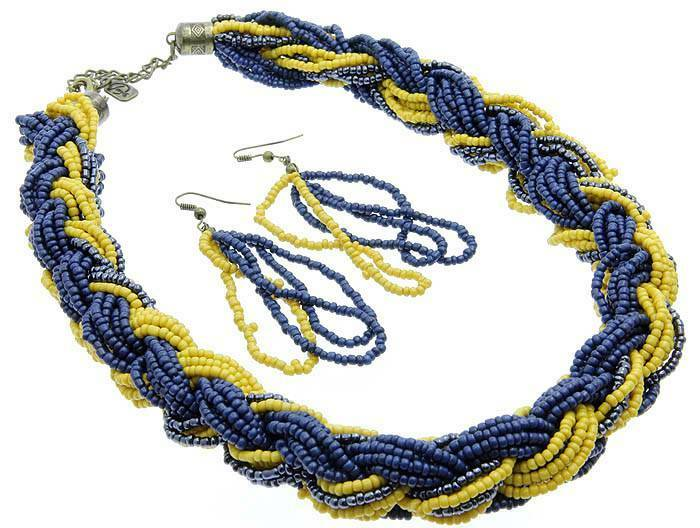 Multi strand navy blue yellow mustard glass seed bead for Mustard colored costume jewelry