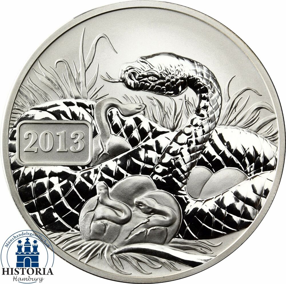 Pacific Series Lunar Snake Silver Ounce Tokelau 5 $ 2013 Reverse Proof