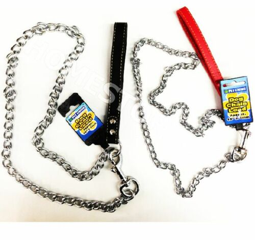DOG PUPPY PET CHAIN LINK LEAD HEAVY DUTY STRONG METAL WITH CLIP HOLDING STRAP