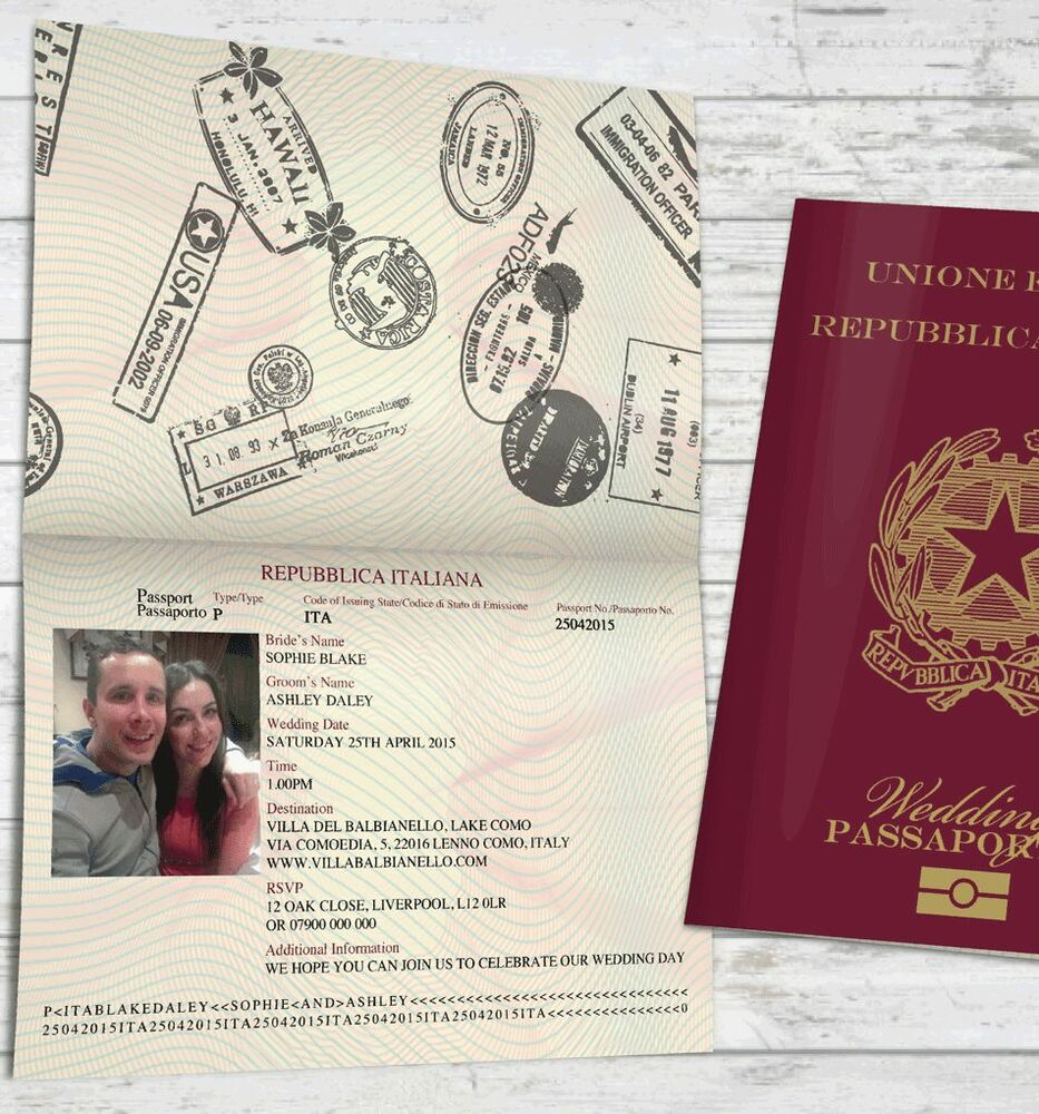 Personalised Passport Wedding Invitations Italian Destination Travel ...
