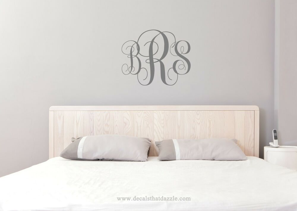 monogram wall decal personalized initials college dorm. Black Bedroom Furniture Sets. Home Design Ideas