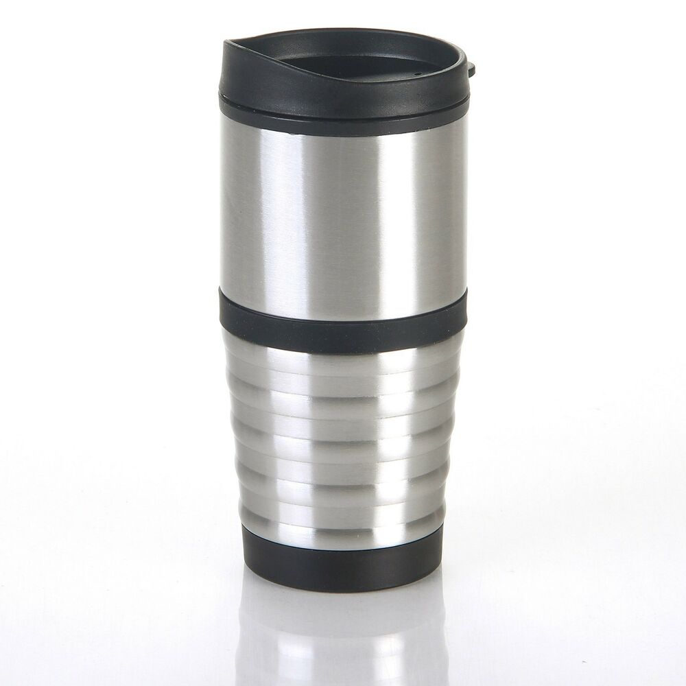 bpa free plastic travel coffee mug tumbler with stainless steel accents and lid ebay. Black Bedroom Furniture Sets. Home Design Ideas