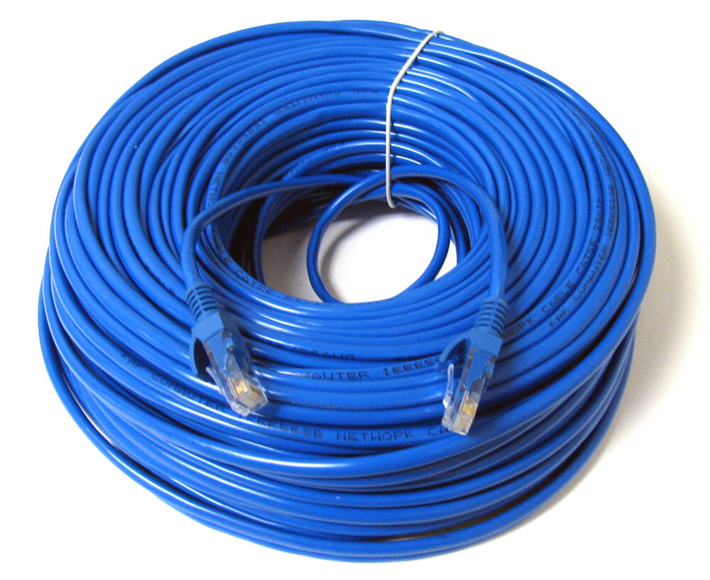 New 100ft 100 Ft Ethernet Network Blue Cat5 Cat5e Cable Us