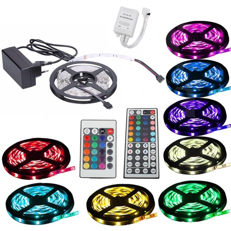 1m 30m led rgb smd5050 30 60 leds streifen strip band leiste controller trafo ebay. Black Bedroom Furniture Sets. Home Design Ideas