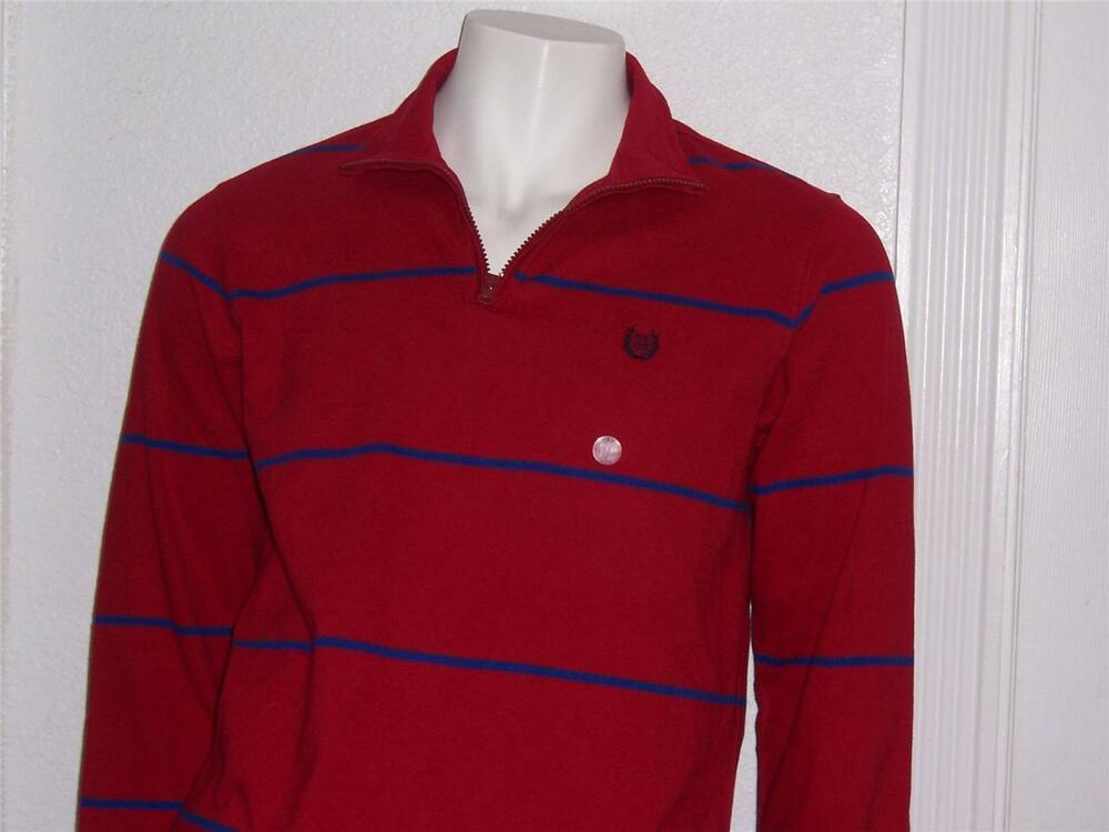 Mens Chaps Red Blue Striped Long Sleeve 7 Zipper Polo