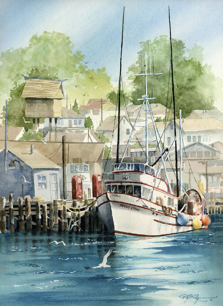 Morro bay fishing boat watercolor art print signed by for Morro bay fishing