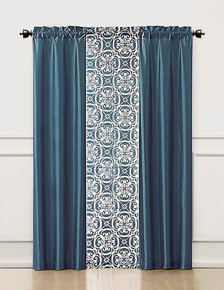 Blue 3 Piece Window Curtain Set 2 Faux Silk Panels And 1