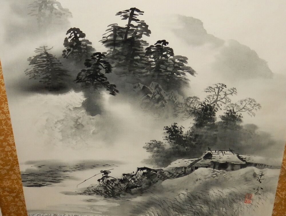 Large japanese watercolor man fishing river landscape for Japanese watercolor paintings