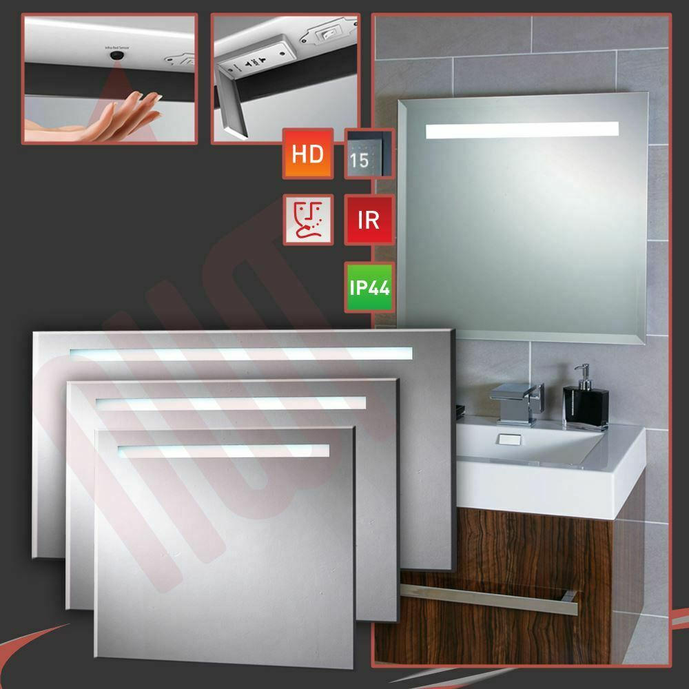 Designer LED Strip Bathroom Mirrors Infrared Sensor Heat Demist Shaver