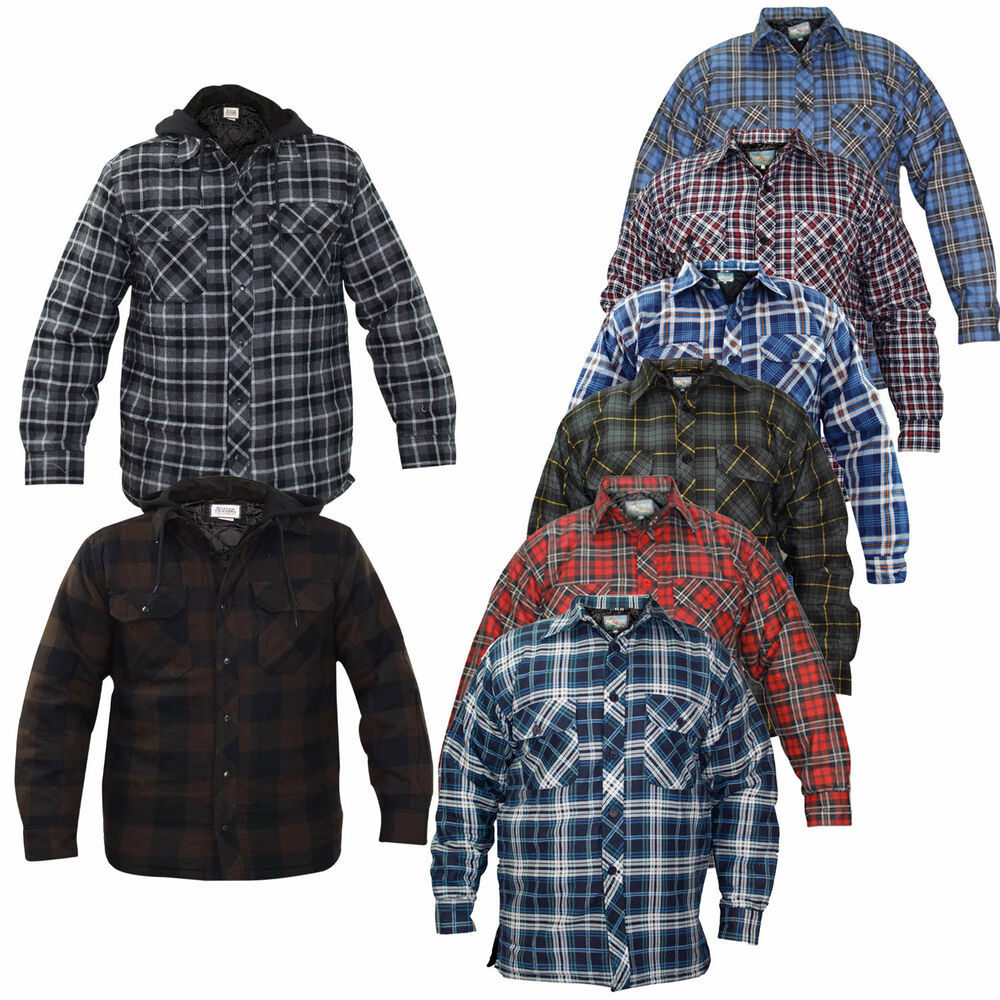Mens padded quilted lined lumberjack check flannel winter for Mens padded lumberjack shirt