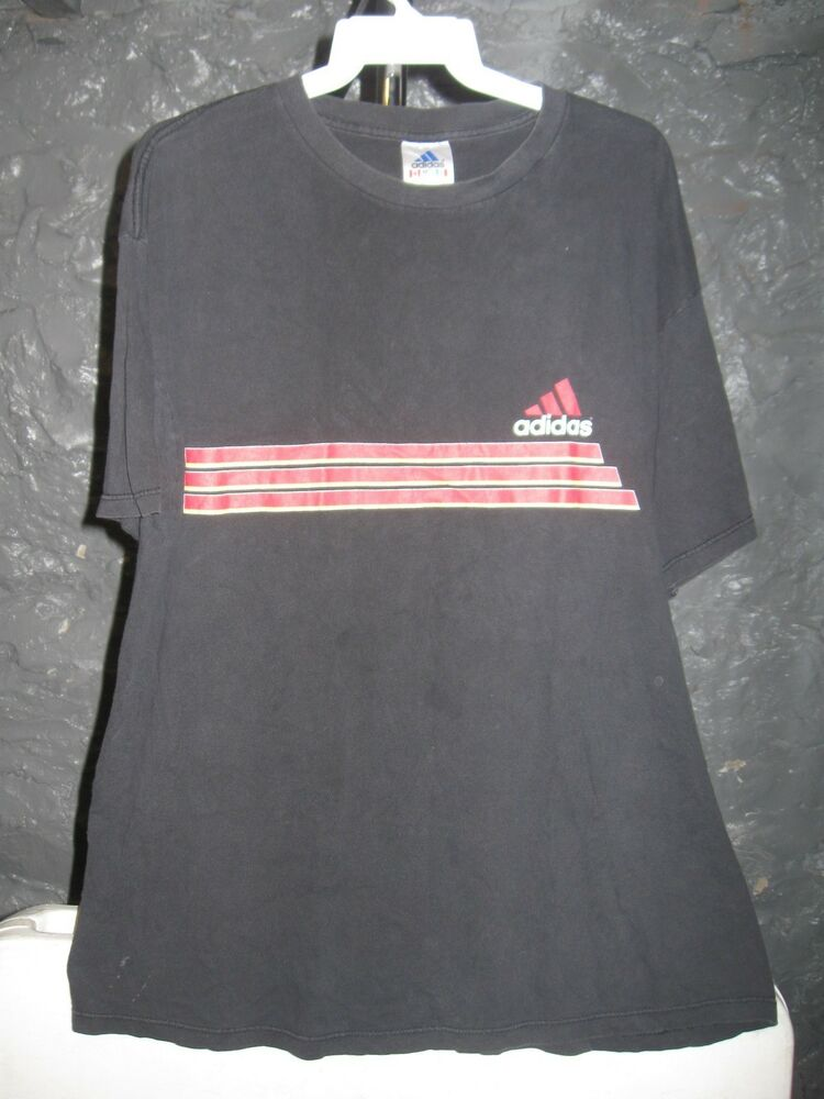 Adidas vintage black adidas red and yellow three lines xl for Adidas classic t shirt