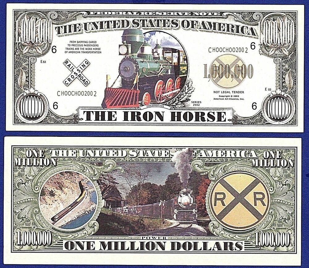 Money: 5--Iron Horse One Million Dollar Bills-Novelty