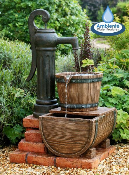 Pump barrel vintange style water feature garden fountain for Water feature pumps