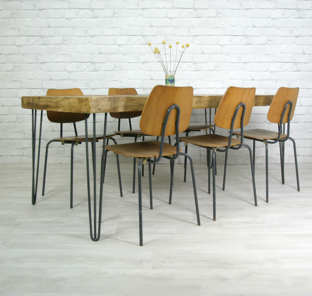 Furniture Dining And Kitchen Tables Farmhouse Industrial: HAIRPIN LEGS VINTAGE INDUSTRIAL RUSTIC MID CENTURY FARM