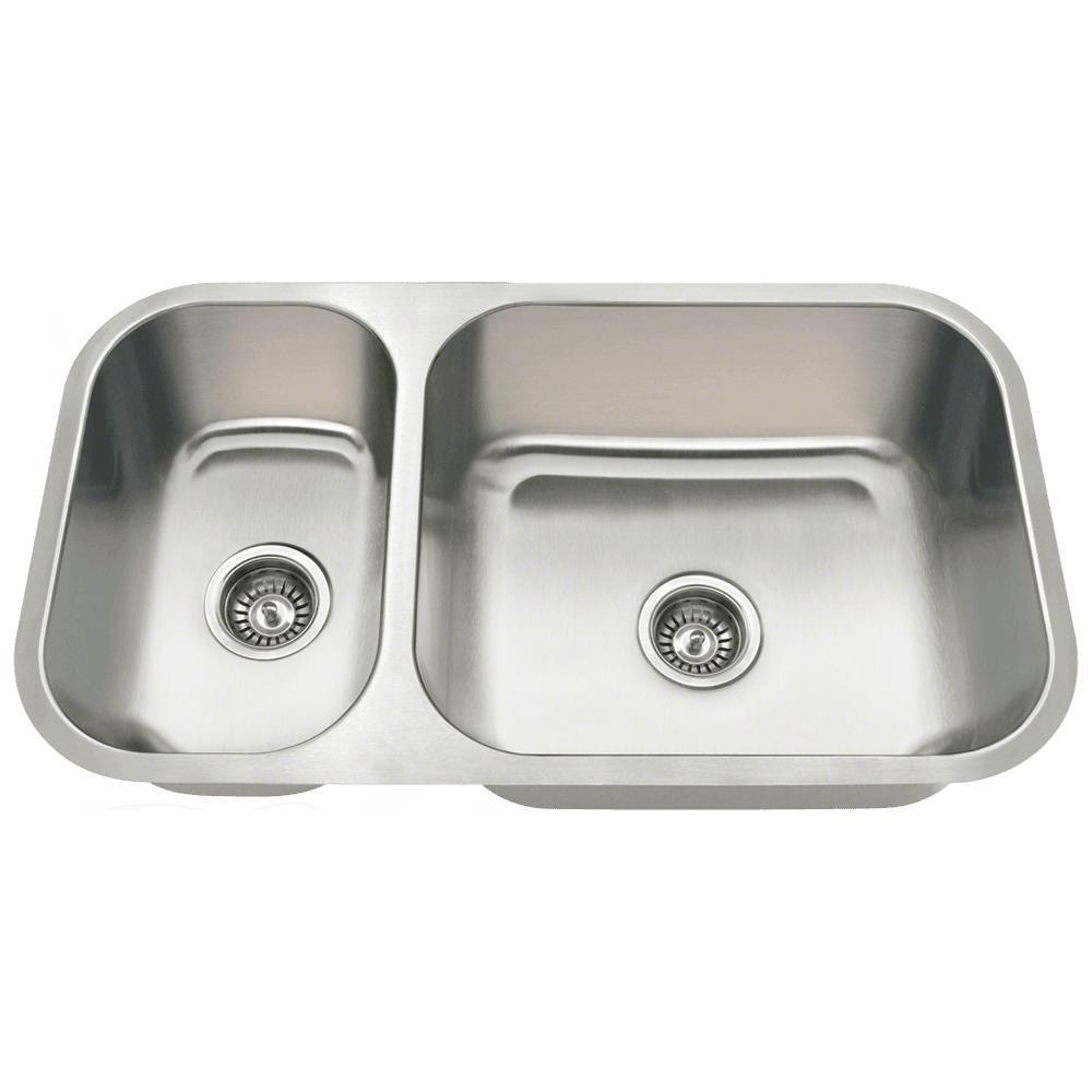 Stainless Steel Sinks Ebay : 3218BR Offset Double Bowl Undermount Stainless Steel Sink eBay