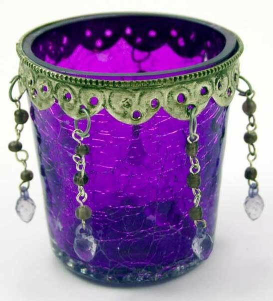 T Light Holder Purple Glass Cup With Beads H7cm Ebay