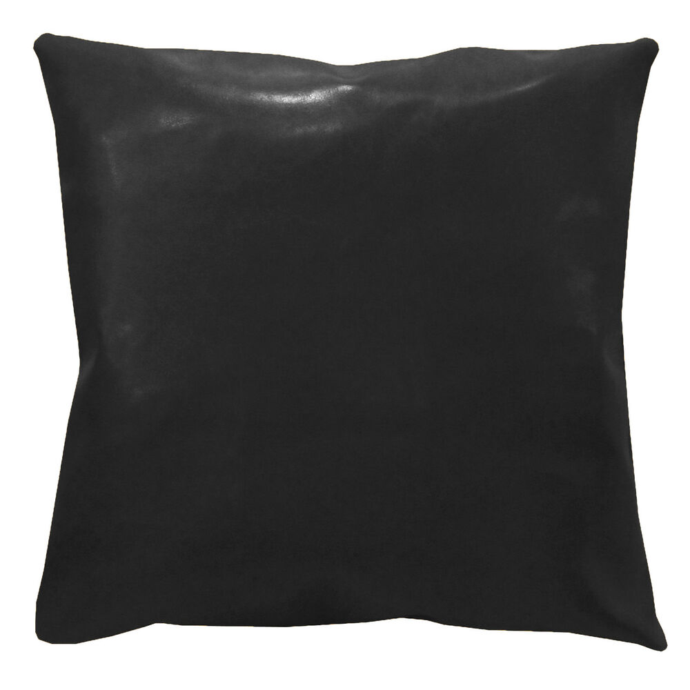 Pe201a Black Faux Leather Classic Pattern Cushion Cover