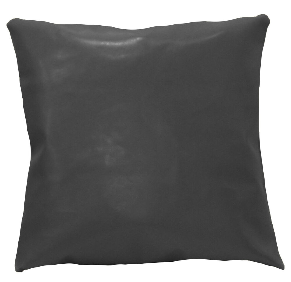 Pe248a Grey Faux Leather Classic Pattern Cushion Cover