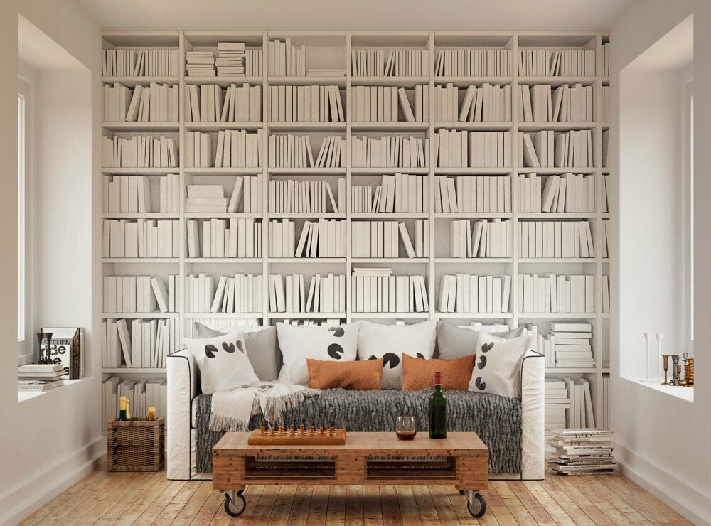 Ohpopsi modern minimalist bookcase wall mural ebay for Bookshelf mural wallpaper
