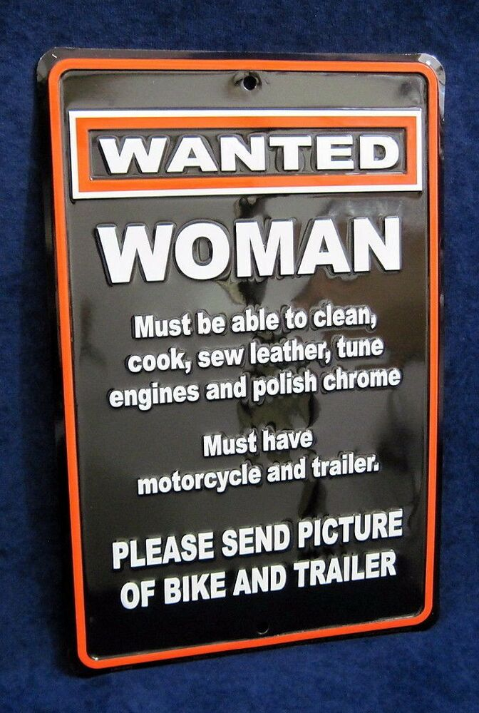 Man Cave Garage Signs : Wanted woman with motorcycle us made embossed tin sign