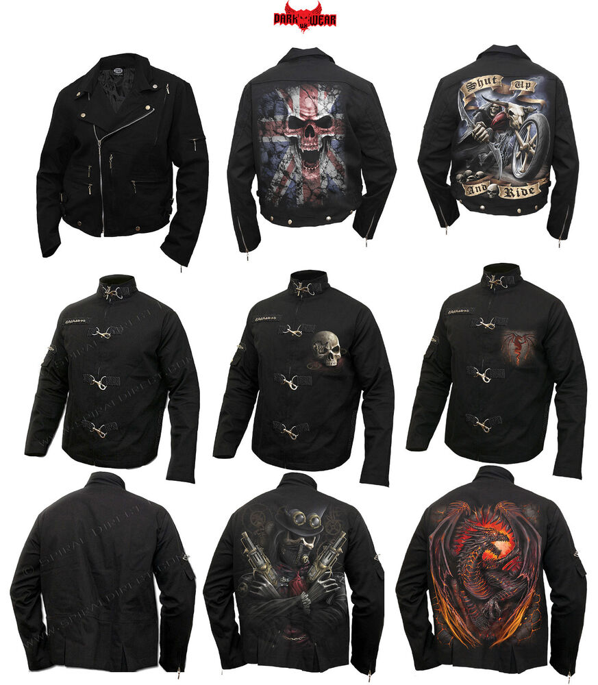 Home clothing mens clothing dragon furnace longsleeve t - Spiral Direct Gothic Biker Jackets Skull Steam Punk Dragon Darkwear Mens Jackets Ebay