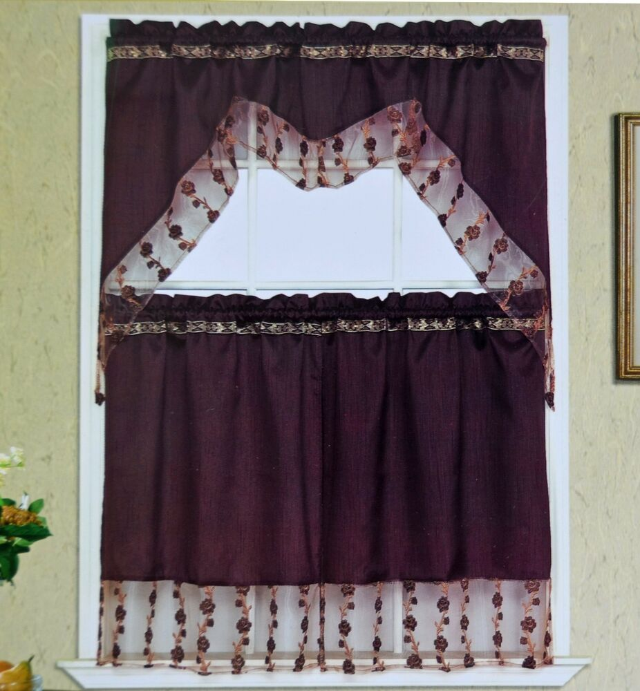 Piece kitchen window set with florally embroidered sheer banners