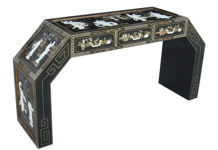 Oriental desk furniture black lacquer mother of pearl with for Chinese black lacquer furniture