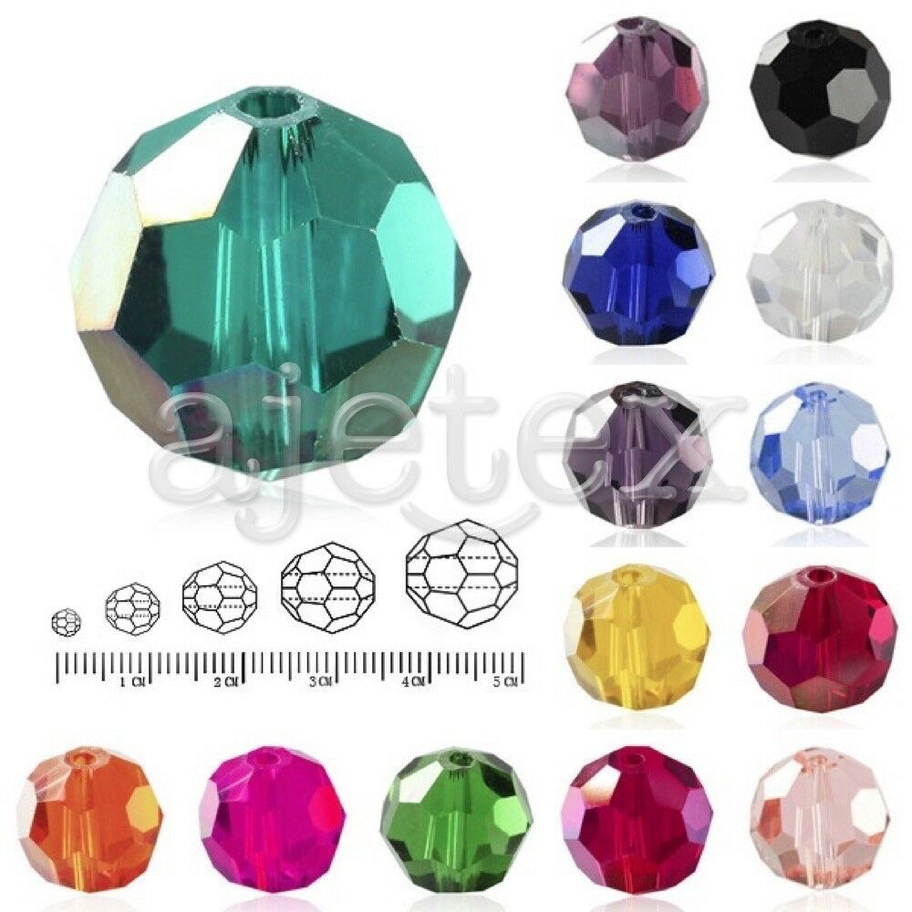 100 Flat Round Faceted Rondelle DIY Crystal Beads Fit Necklace Jewelry