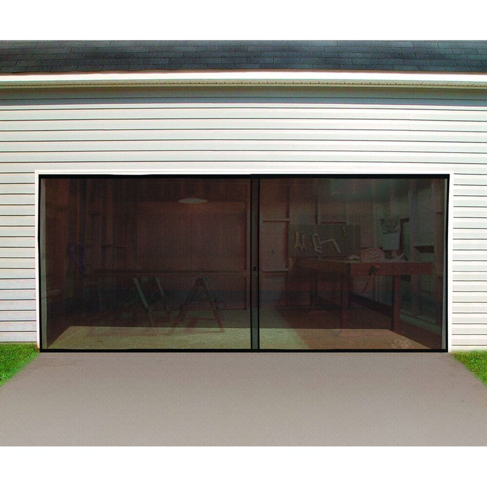 New double garage door screen 16 ft w x 7 ft h magnetic for Garage doors