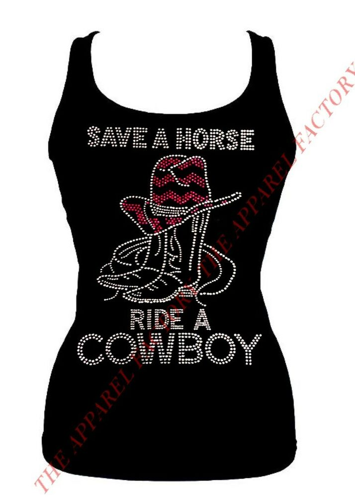 Junior S Rhinestone Save A Horse Ride A Cowboy Tank Top S