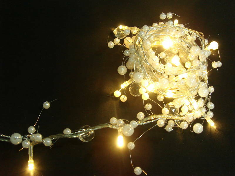 2M Pearl Beaded Garland 20 Warm White LED Lights (L70) eBay