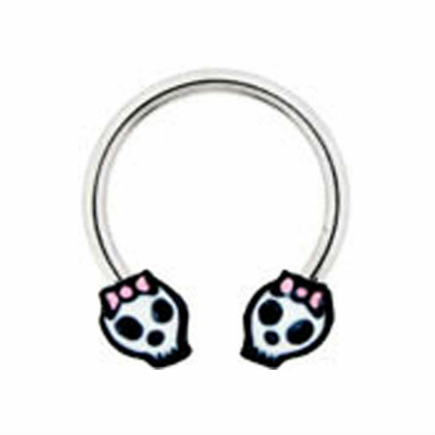 Sugar skull nipple ring pink bow 14g day of the dead for Day of the dead body jewelry