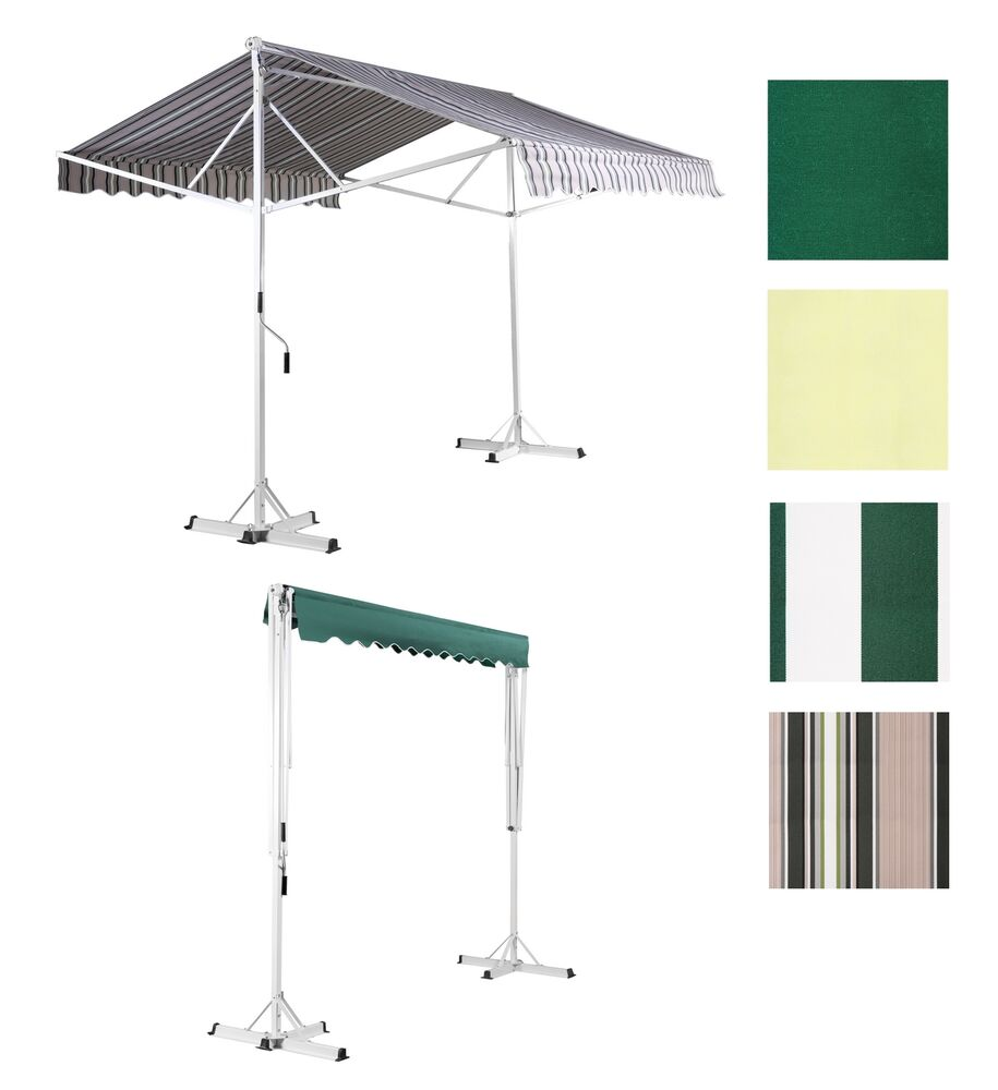 Free standing patio awning double sided manual sun canopy for Retractable patio awning canopy