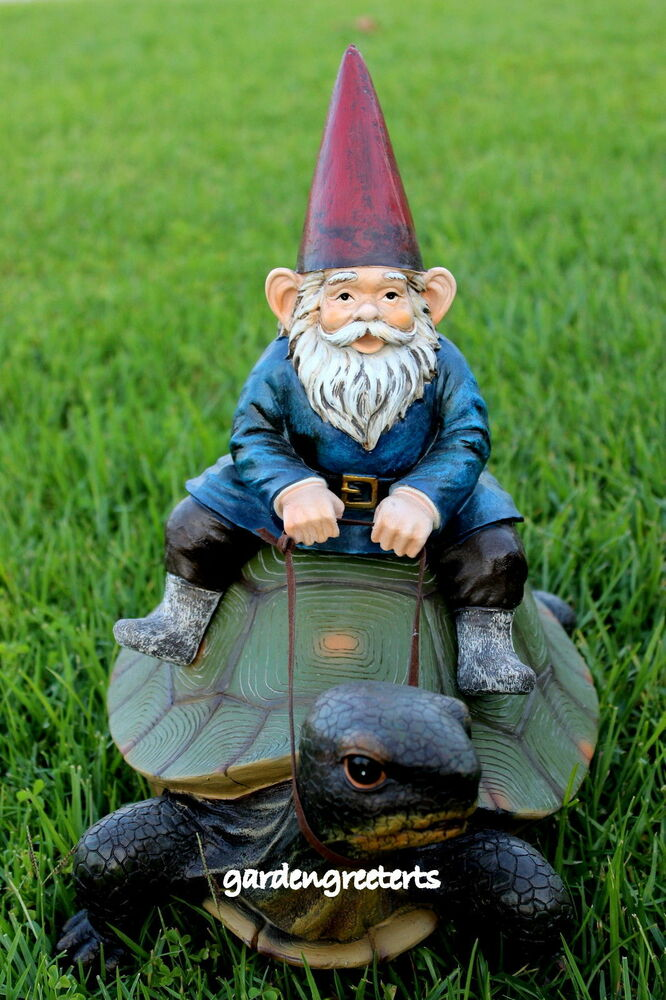 Gnome In Garden: GARDEN STATUE GNOME ON TURTLE , GNOME ON TURTLE FIGURINE