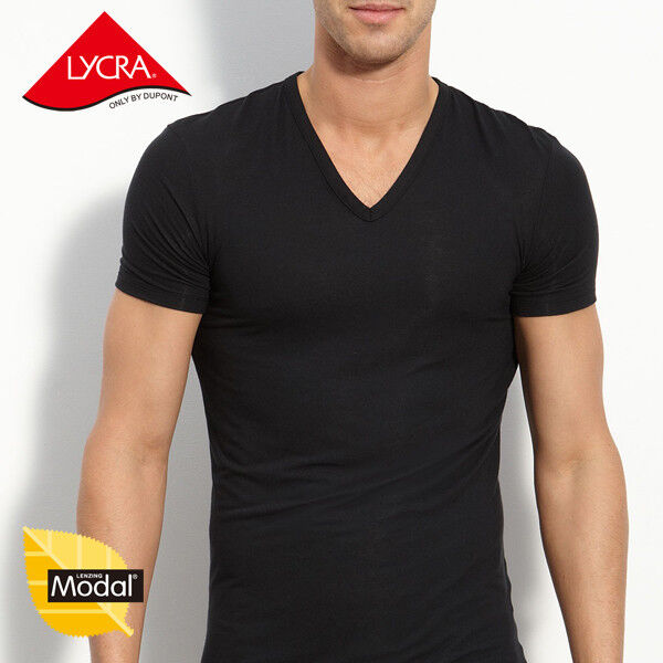 Mens micro modal v neck short sleeve t shirt undershirts for What is a fitted t shirt