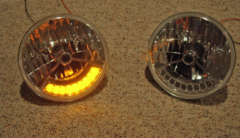 Hot Rod Turn Signals : Quot tri bar black dot street hot rat rod h headlights w