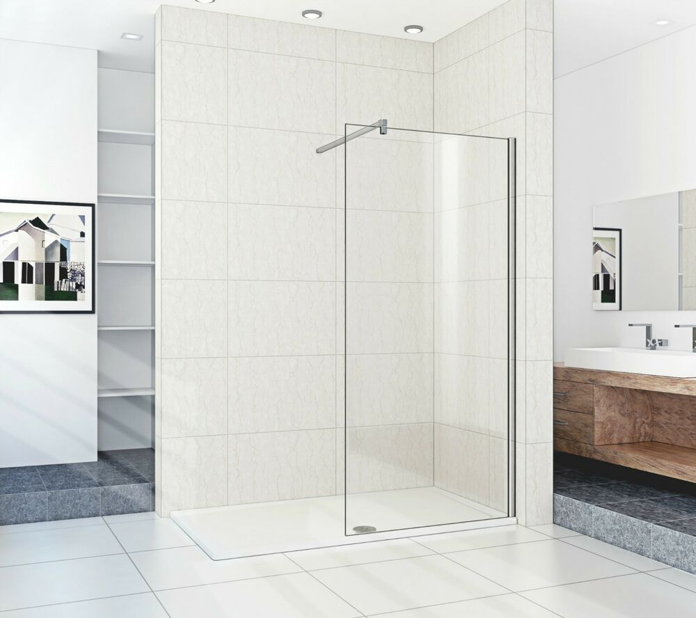 Walk in shower enclosure tray glass panel s 1500mm x800 tray ebay - Walk in glass shower enclosures ...