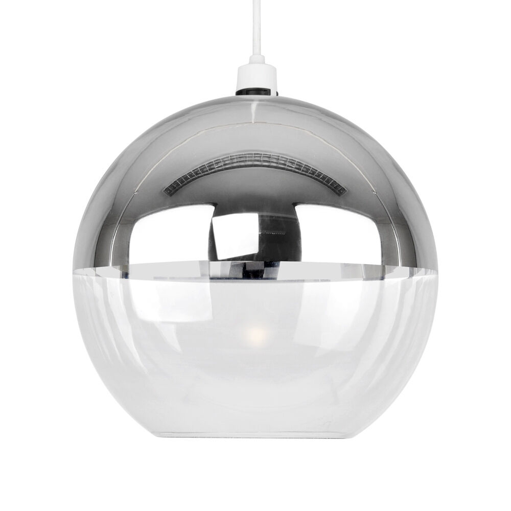 Glass Globe Pendant Light Nz Large Uk Clear Fixtures: Contemporary Chrome & Clear Glass Ball Ceiling Pendant