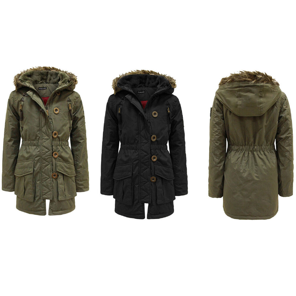 57d79382b Girls Hooded Jacket Fur Quilted Padded Parka Military Winter School ...