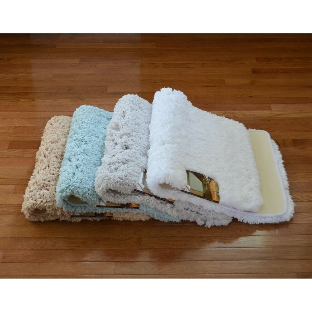 Ultra Soft High Pile Plush Bath Mat/Rug: 21in X 34in, Non
