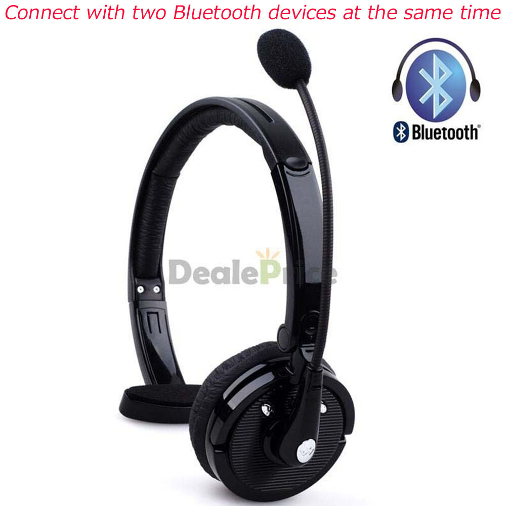 Wireless Bluetooth Handsfree Mic Boom Headset Headphone Over Head For Trucker