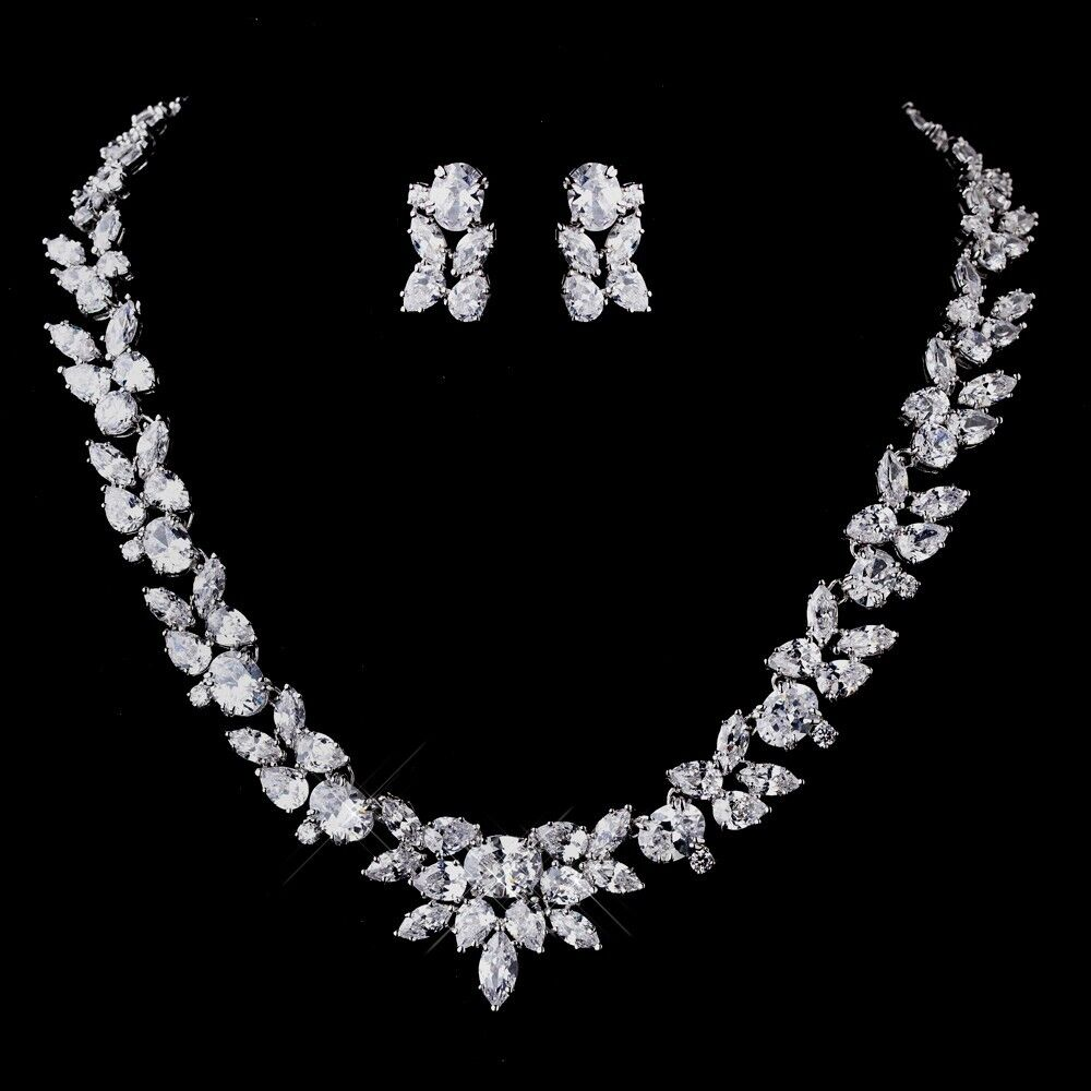 CZ Bridal Necklace & Earrings Jewelry Set With Marquis